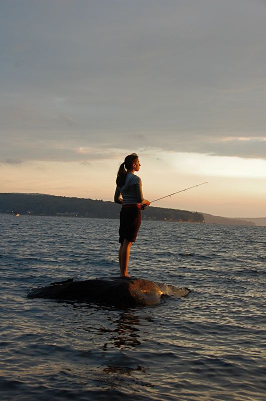 colette fishing at sunset